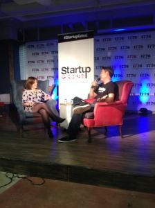 Sunlight Foundation director, Ellen Miller speaks with Brian Park at Startup Grind DC on April 21, 2014.