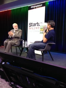Startup Grind's Brian Park presents the Vint Cerf super hero he had made just for this occasion.