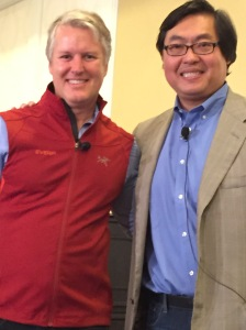 Tien Wong (R) gets ready to interview EverFi co-founder and CEO, Tom Davidson, at Big Idea Connectpreneur 2015 Fall edition. As one point as questions flew, Tom quipped: