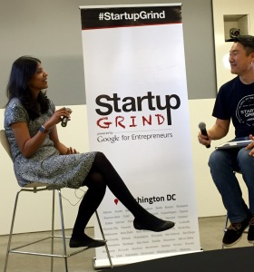 Archana Vemulapalli (left) the Chief Technology Officer for the District of Columbia tells Startup Grind DC's Brian Park (Right) she's recruiting technology the city needs to keep moving on projects. Local startups stay tuned! @dccto